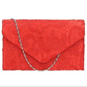 Handbags - Bright Red Envelope Clutch, Red Lace Evening Bag